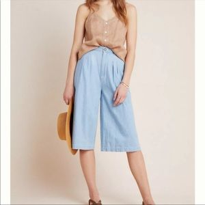 Anthropologie Pleated Chambray Denim Culottes